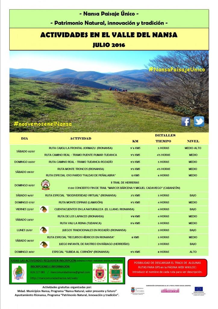 Calendario de Rutas Julio 2016